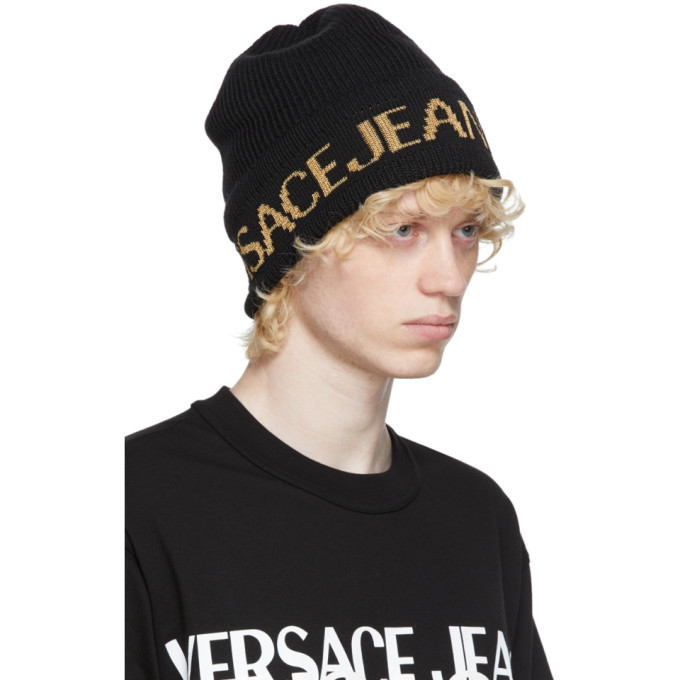 Versace Jeans Couture Black and Gold Jacquard Logo Beanie