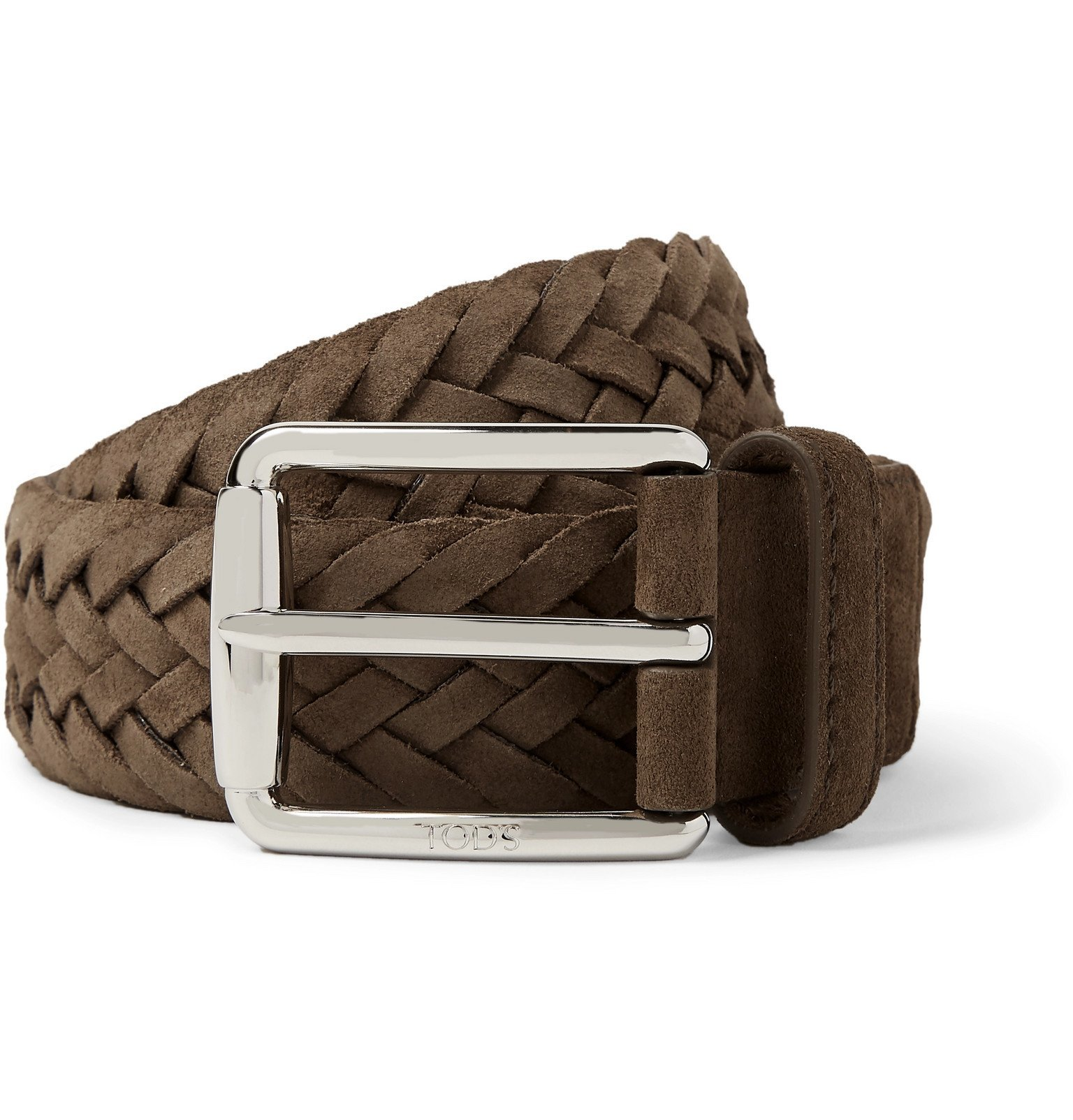 Photo: Tod's - 3.5cm Brown Woven Suede Belt - Brown