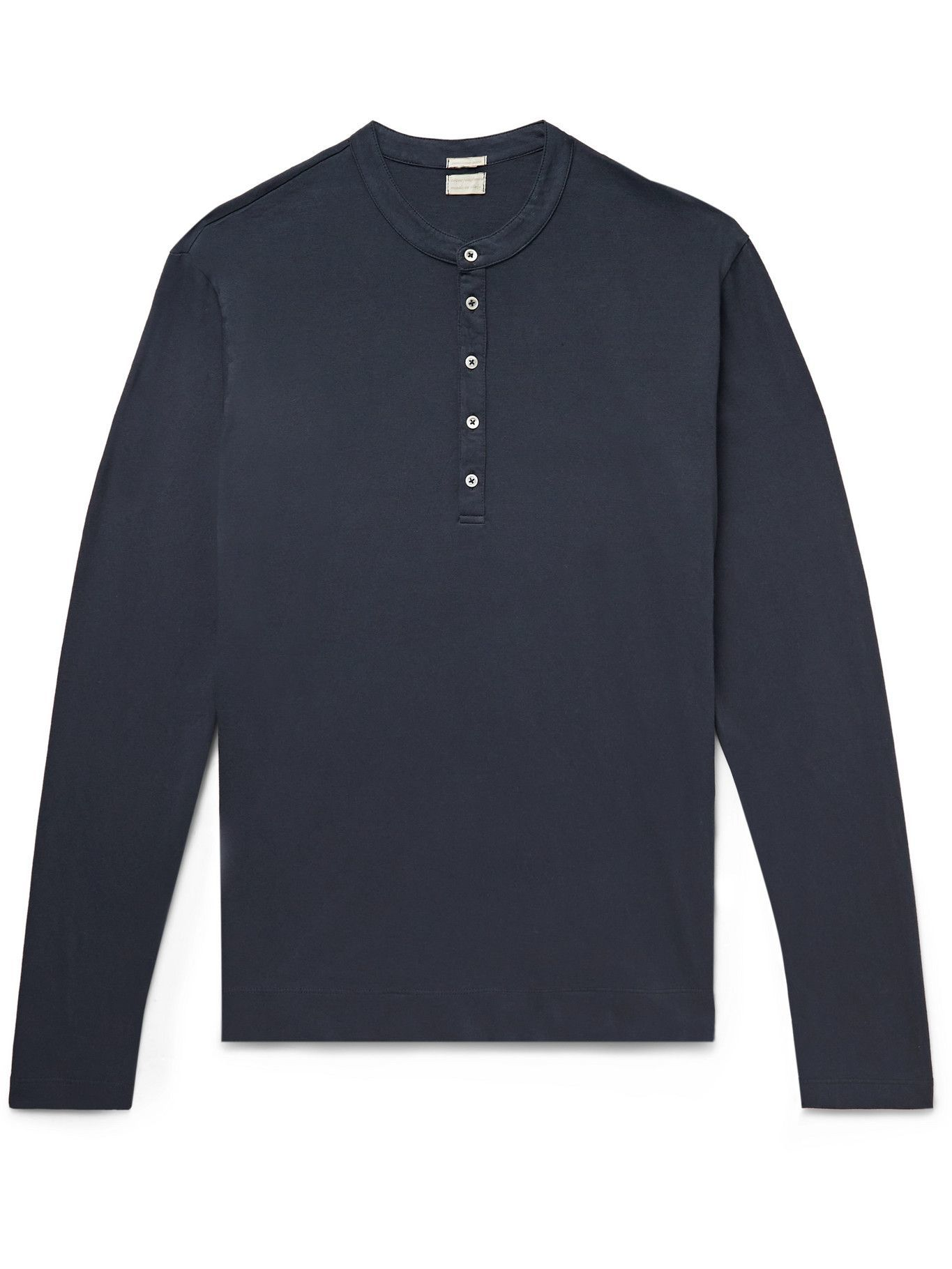 Photo: Massimo Alba - Cotton and Cashmere-Blend Henley T-Shirt - Blue