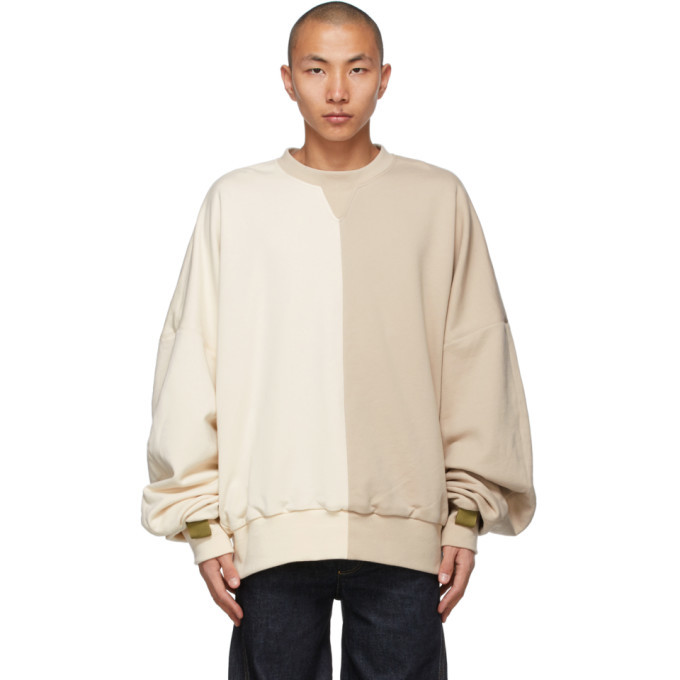 Photo: A. A. Spectrum Off-White and Beige Collage Sweatshirt
