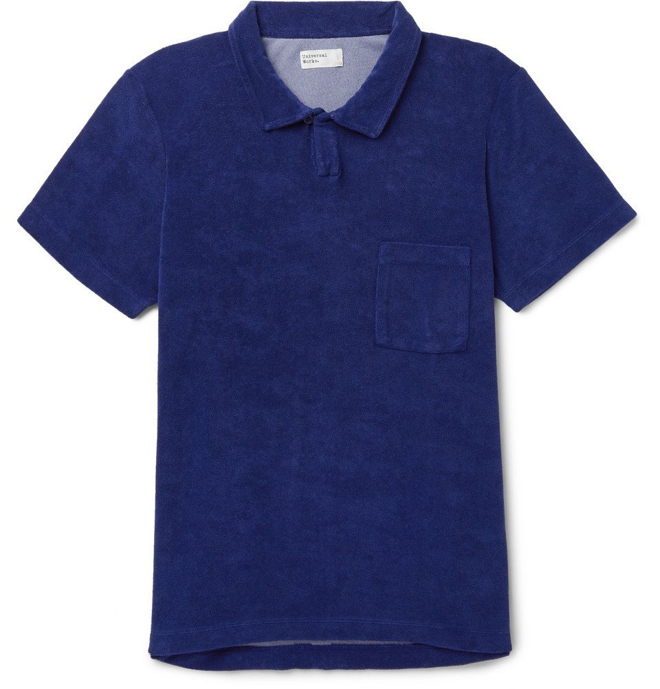 Photo: Universal Works - Vacation Cotton-Blend Terry Polo Shirt - Navy