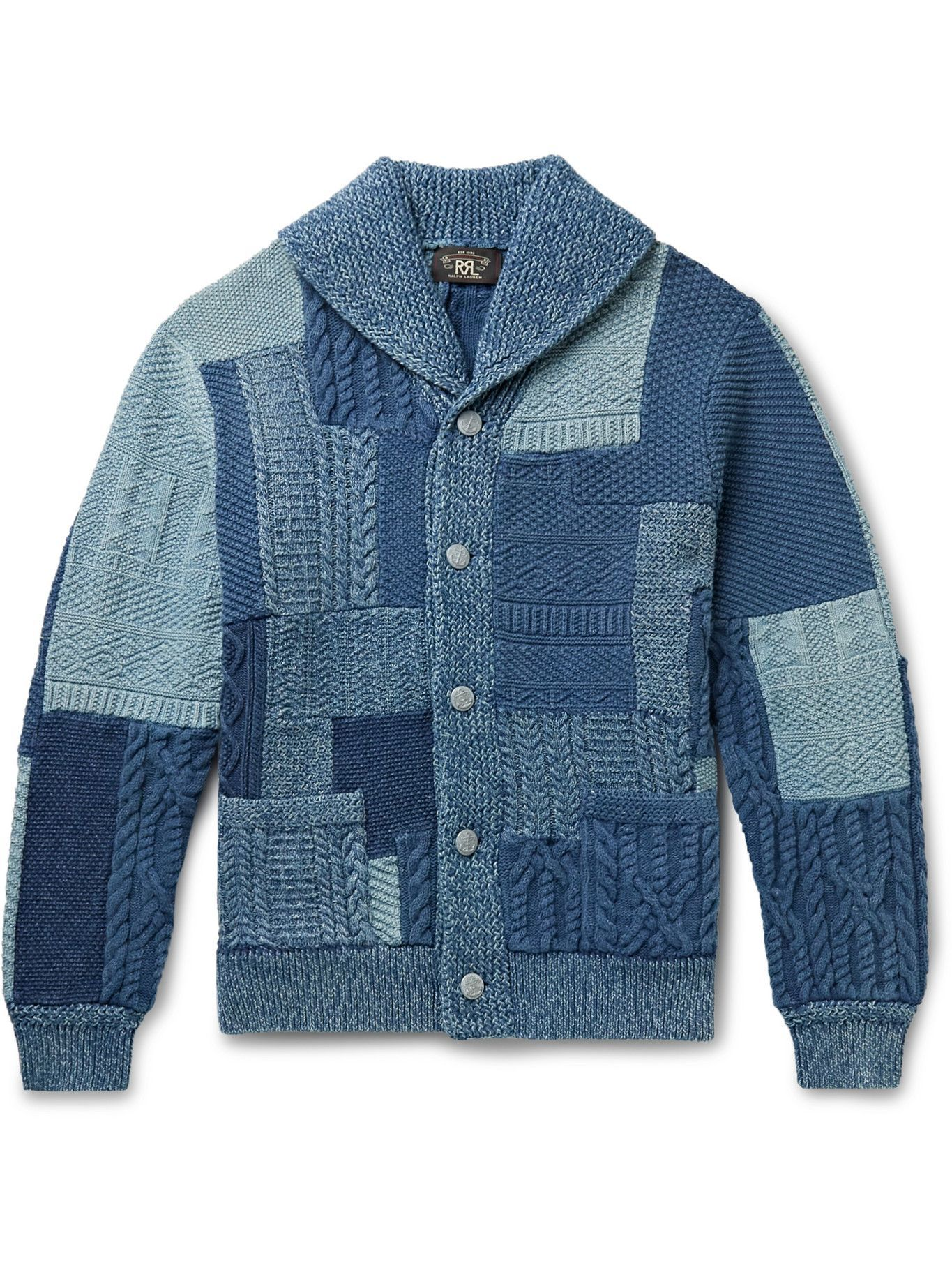 Photo: RRL - Shawl-Collar Patchwork Cable-Knit Cotton and Linen-Blend Cardigan - Blue