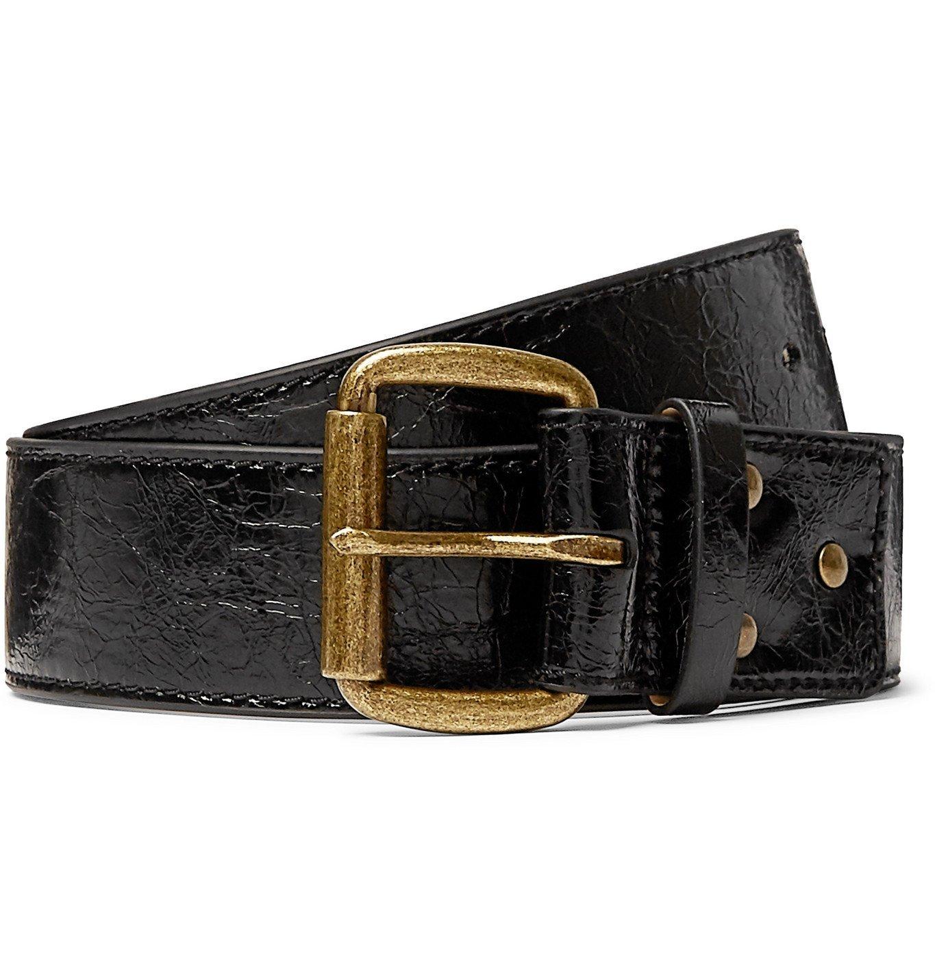 Photo: Acne Studios - 4cm Cracked Patent-Leather Belt - Black