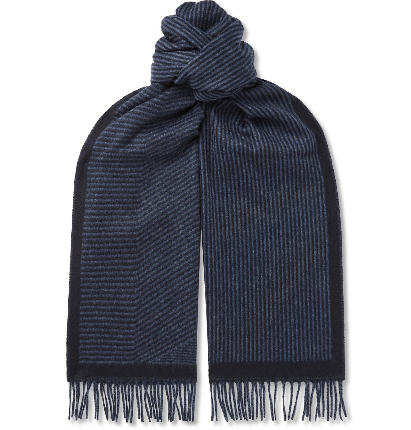 Photo: Loro Piana - Fringed Striped Cashmere Scarf - Blue