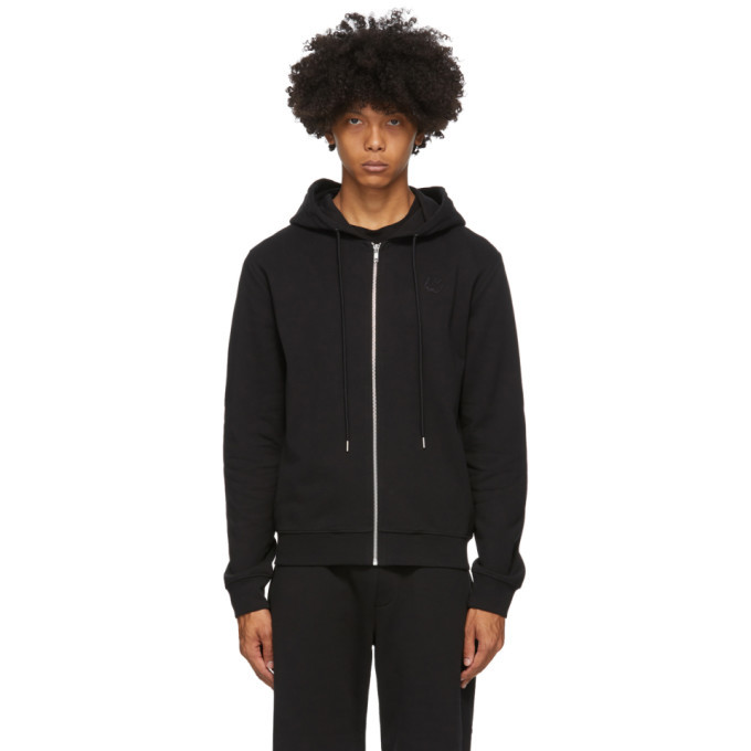 Photo: McQ Alexander McQueen Black Clean Swallows Zip-Up Hoodie