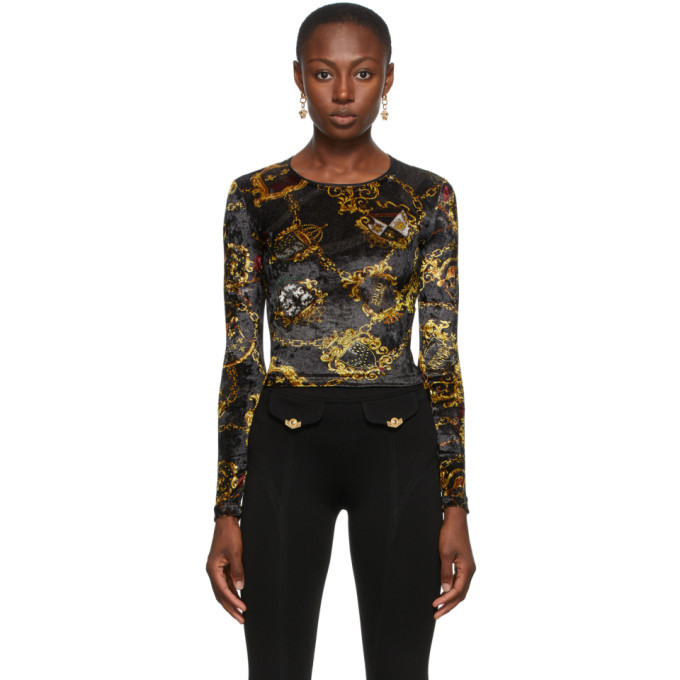Versace Jeans Couture Black Velvet Shields and Chains Long Sleeve T-Shirt