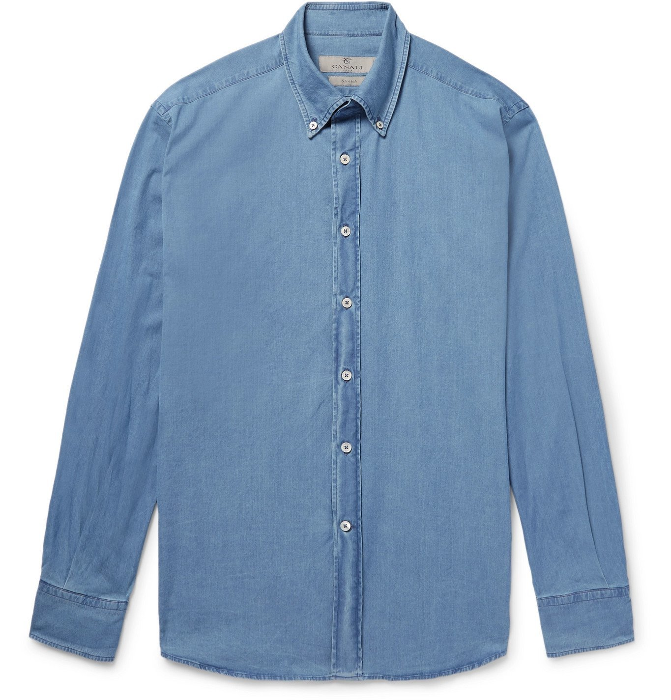 Photo: Canali - Button-Down Collar Stretch-Cotton Chambray Shirt - Blue
