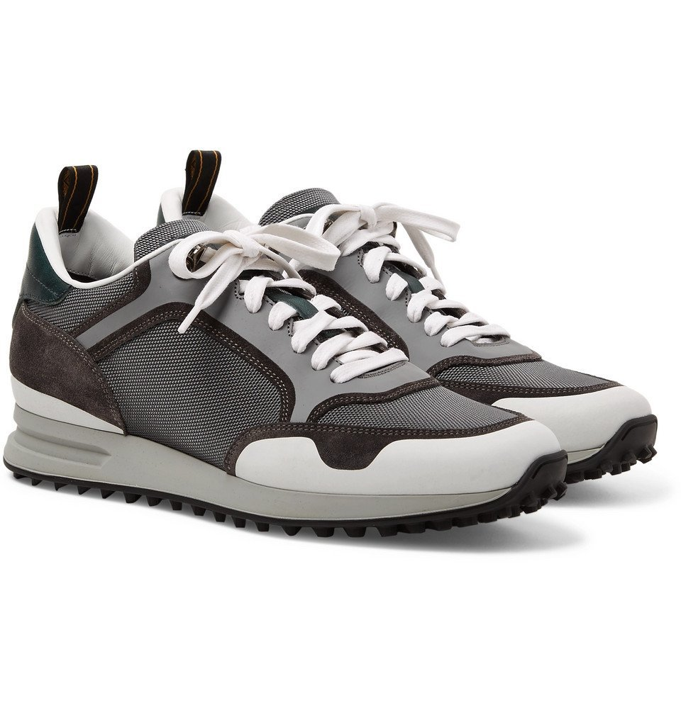 Dunhill - Radial Runner Leather and Suede-Trimmed Mesh Sneakers - Men - Dark gray