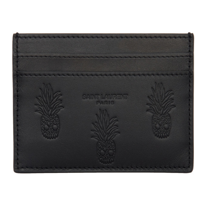 Photo: Saint Laurent Black Embossed Pineapple Card Holder