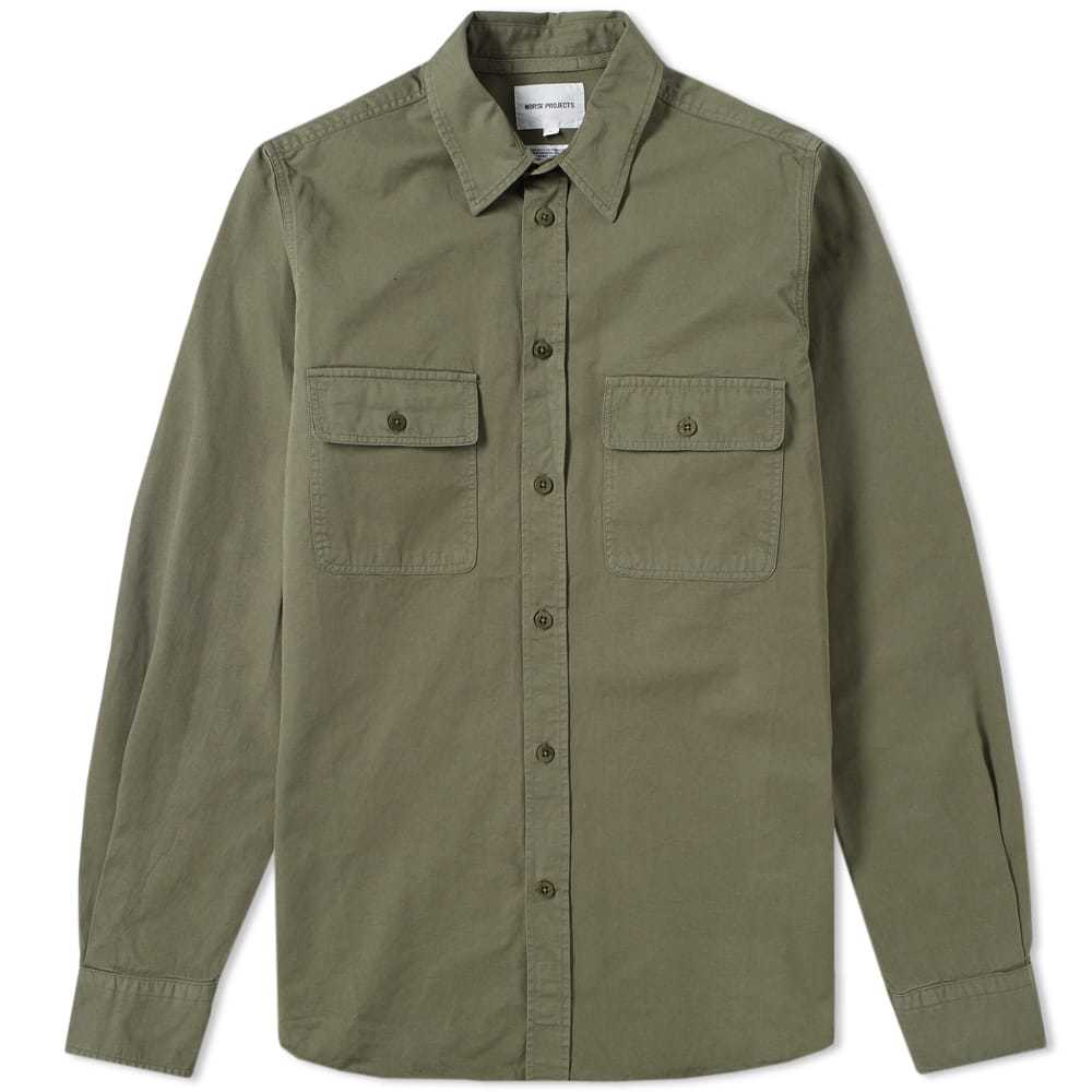 Photo: Norse Projects Villads Twill Shirt Green