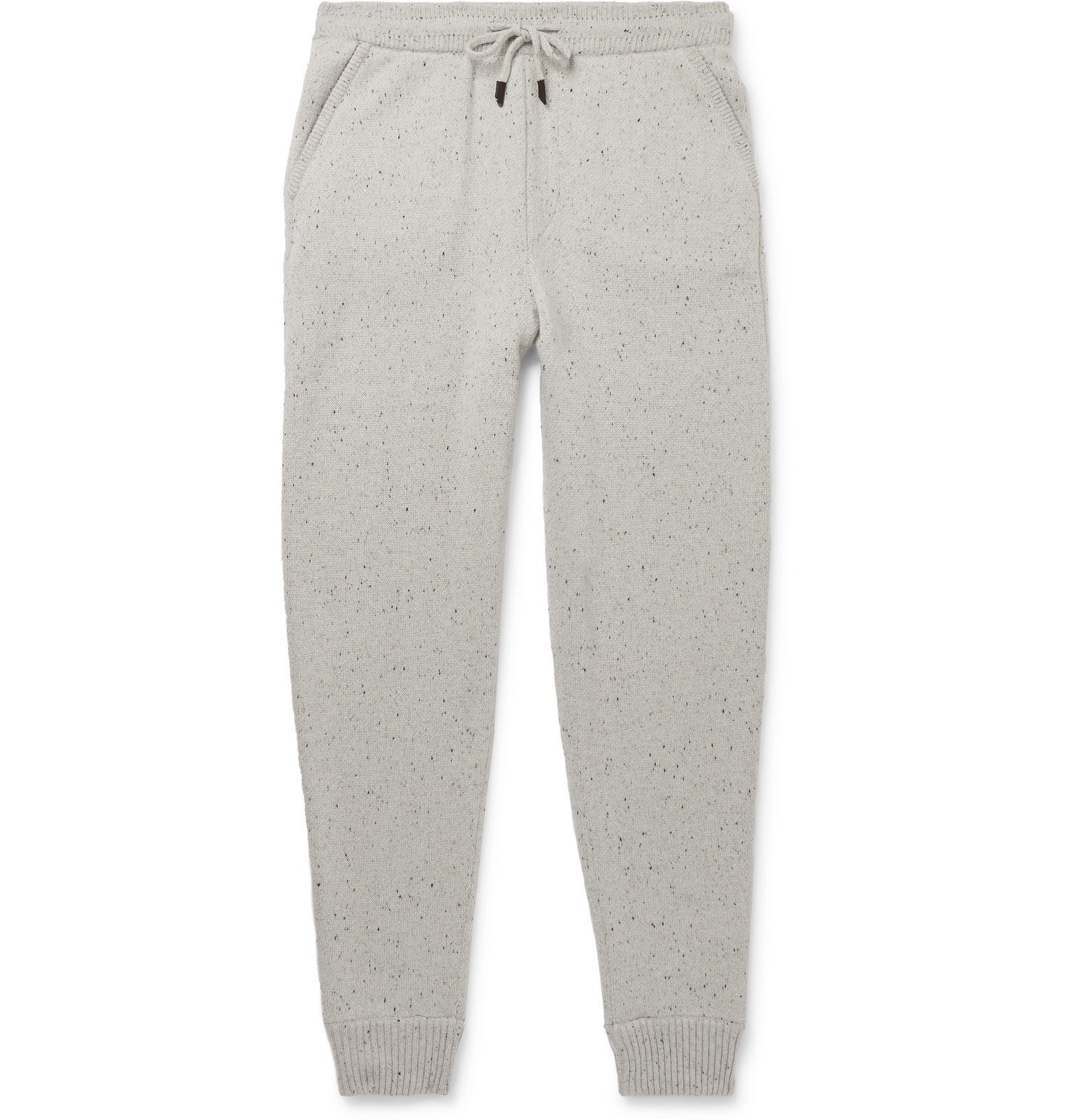Photo: Ermenegildo Zegna - Tapered Donegal Wool, Silk and Cashmere-Blend Sweatpants - Gray