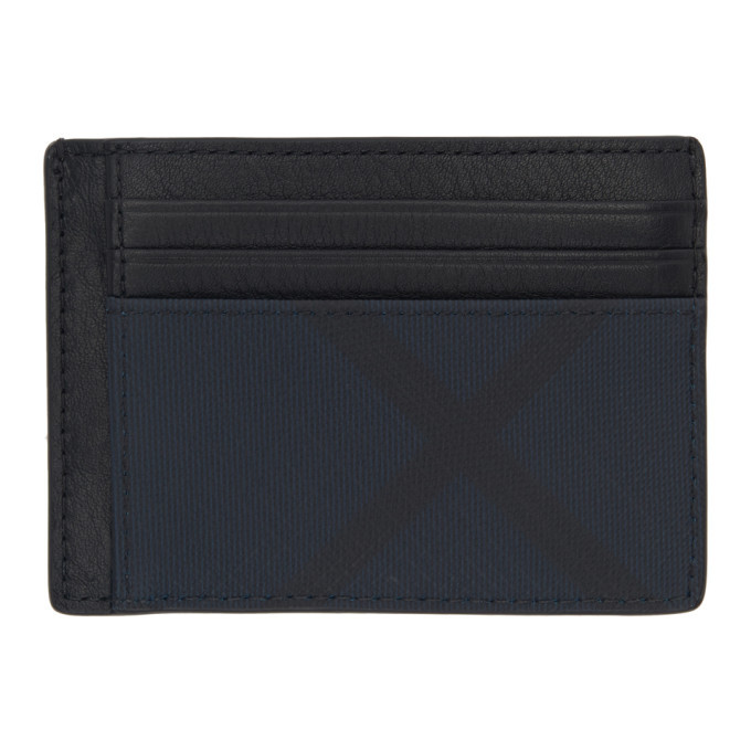 Photo: Burberry Navy and Black London Check Money Clip Card Holder