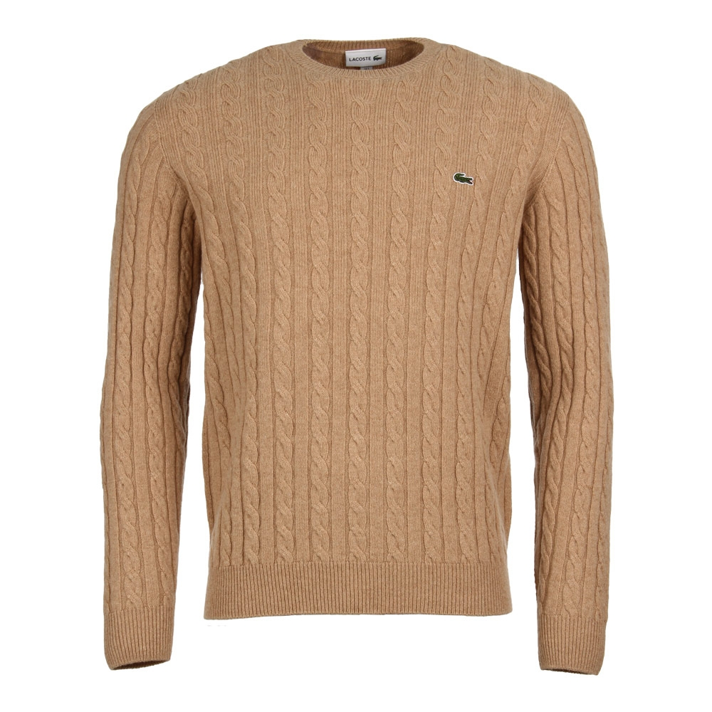 Cable Knit Jumper Brown Lacoste