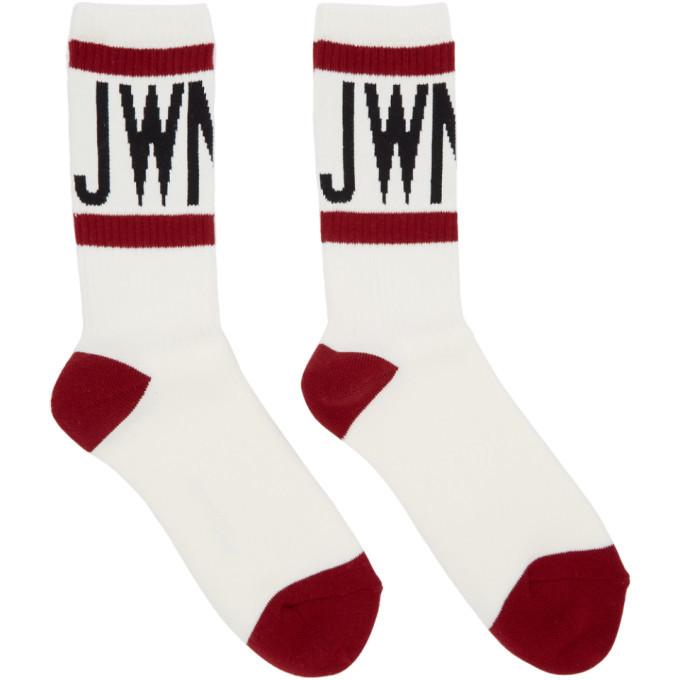 Photo: Junya Watanabe White and Red Cotton Pile Logo Socks