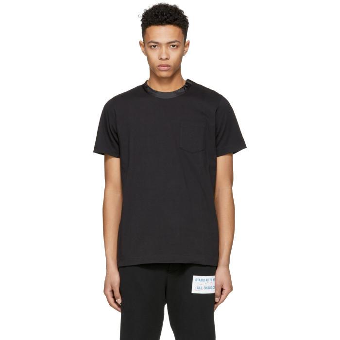 Sacai Black Satin Collar T-Shirt