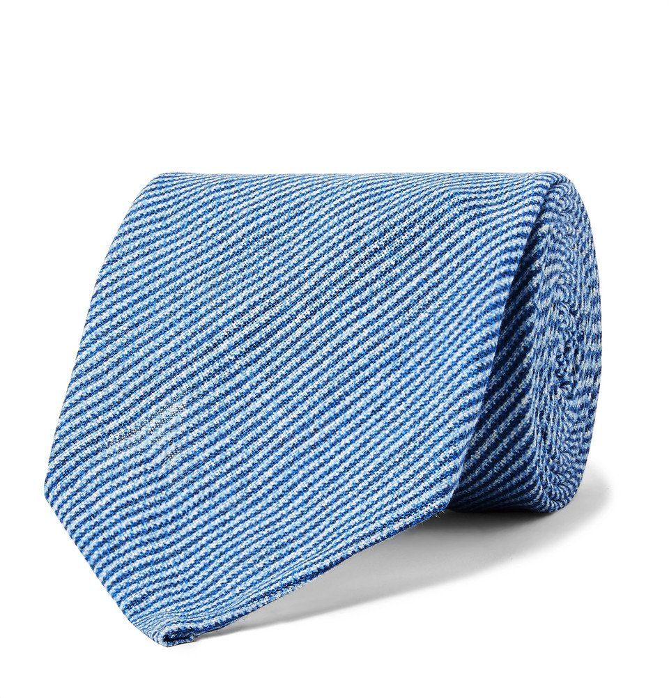 Photo: Rubinacci - 8cm Pinstriped Linen Tie - Blue