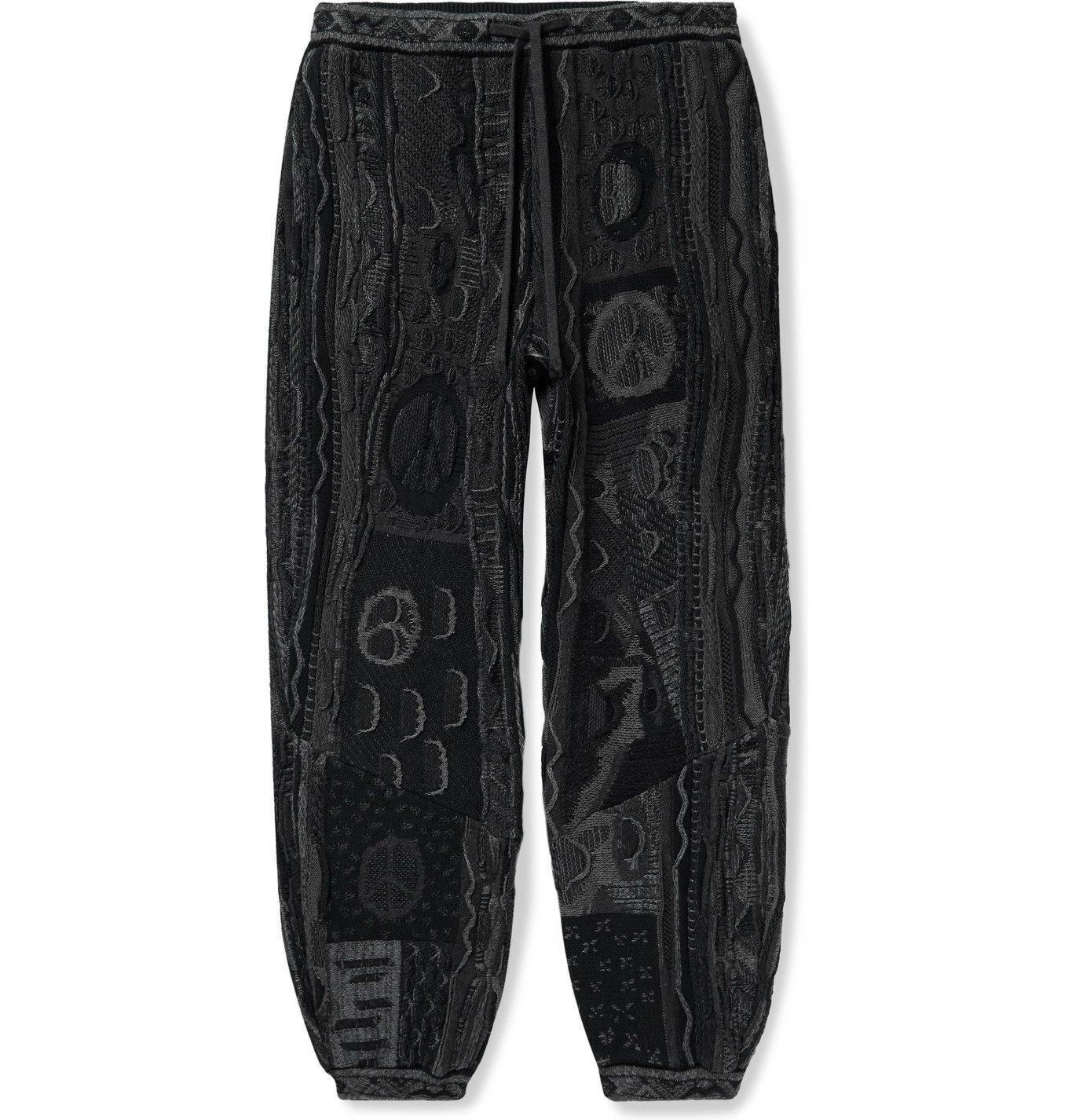 KAPITAL - Boro Tapered Cotton-Blend Jacquard Sweatpants - Black