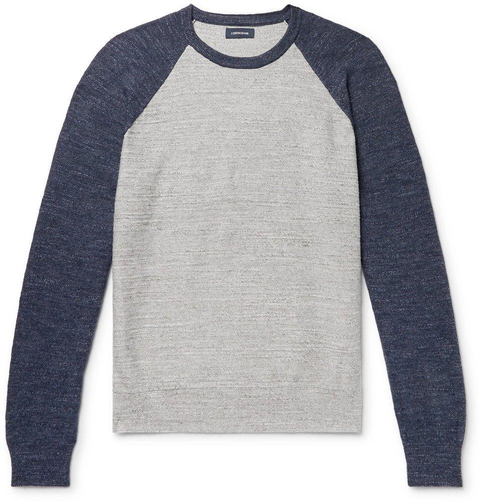 Photo: J.Crew - Colour-Block Slub Mélange Cotton Sweatshirt - Gray