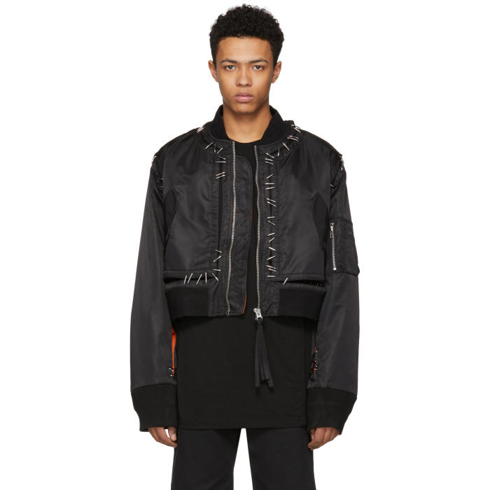 Photo: KTZ Black Stapled Metal Bomber Jacket