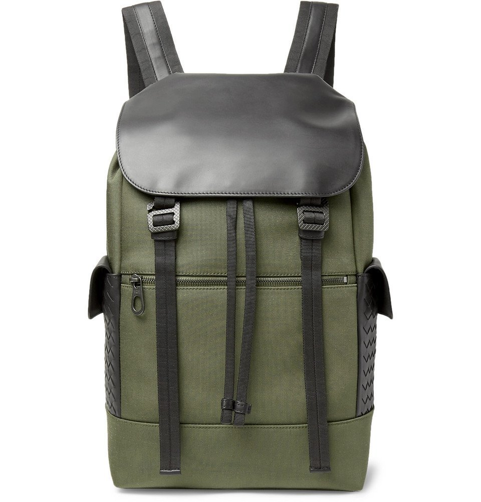 Photo: Bottega Veneta - Sassolungo Nylon-Canvas and Intrecciato Leather Backpack - Men - Army green