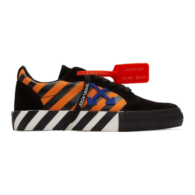 Photo: Off-White Black and Orange Low Vulcanized Diag Sneakers