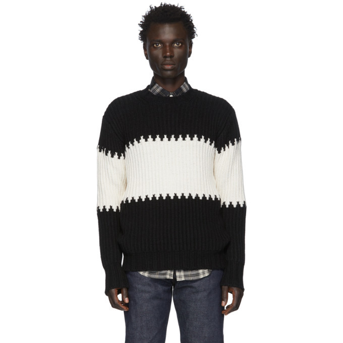 Officine Generale Black and White Striped Ribbed Sweater