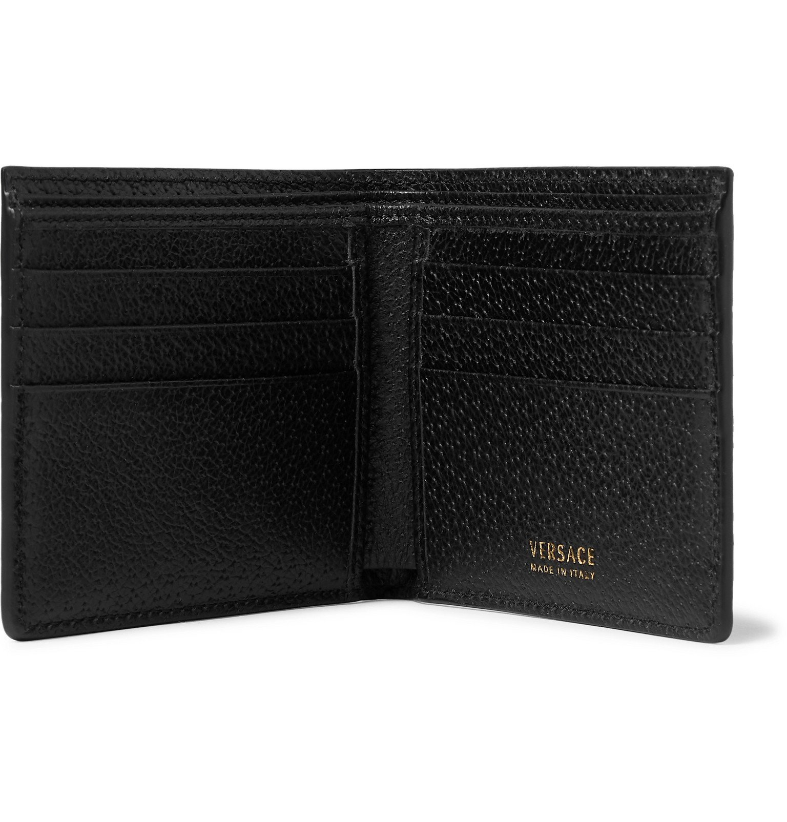 Versace - Embellished Full-Grain Leather Bifold Wallet - Black