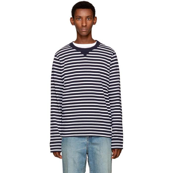 Sacai Navy and White Dixie Stripe Pullover