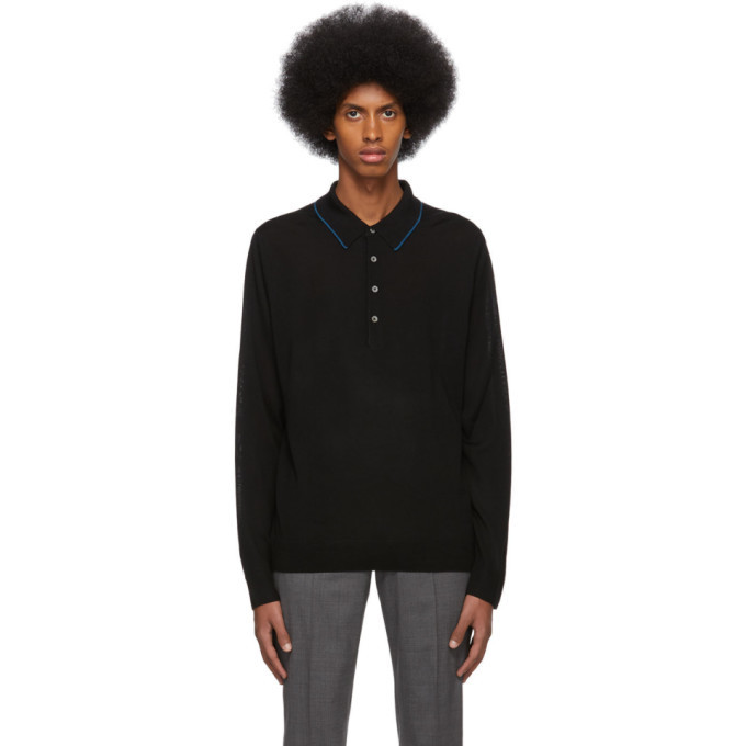 Photo: PS by Paul Smith Black Merino Long Sleeve Polo