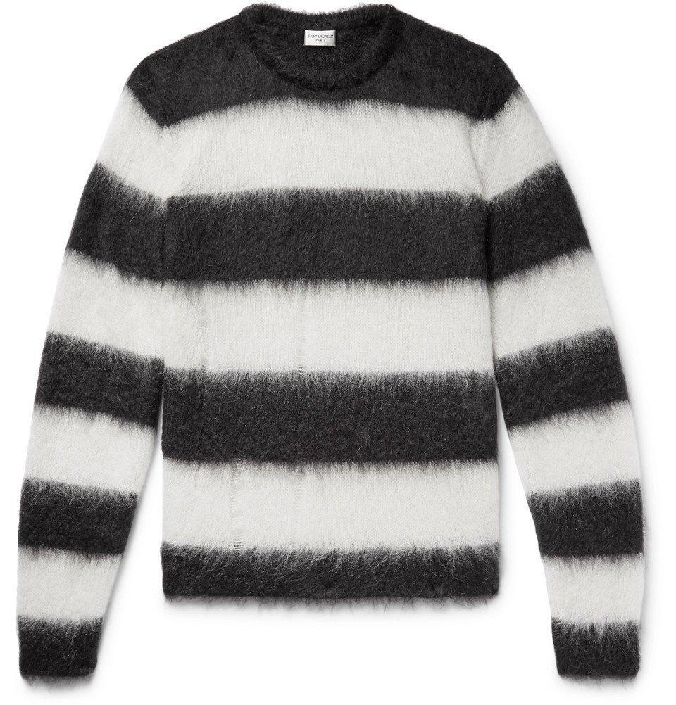 Photo: SAINT LAURENT - Distressed Striped Mohair-Blend Sweater - Black
