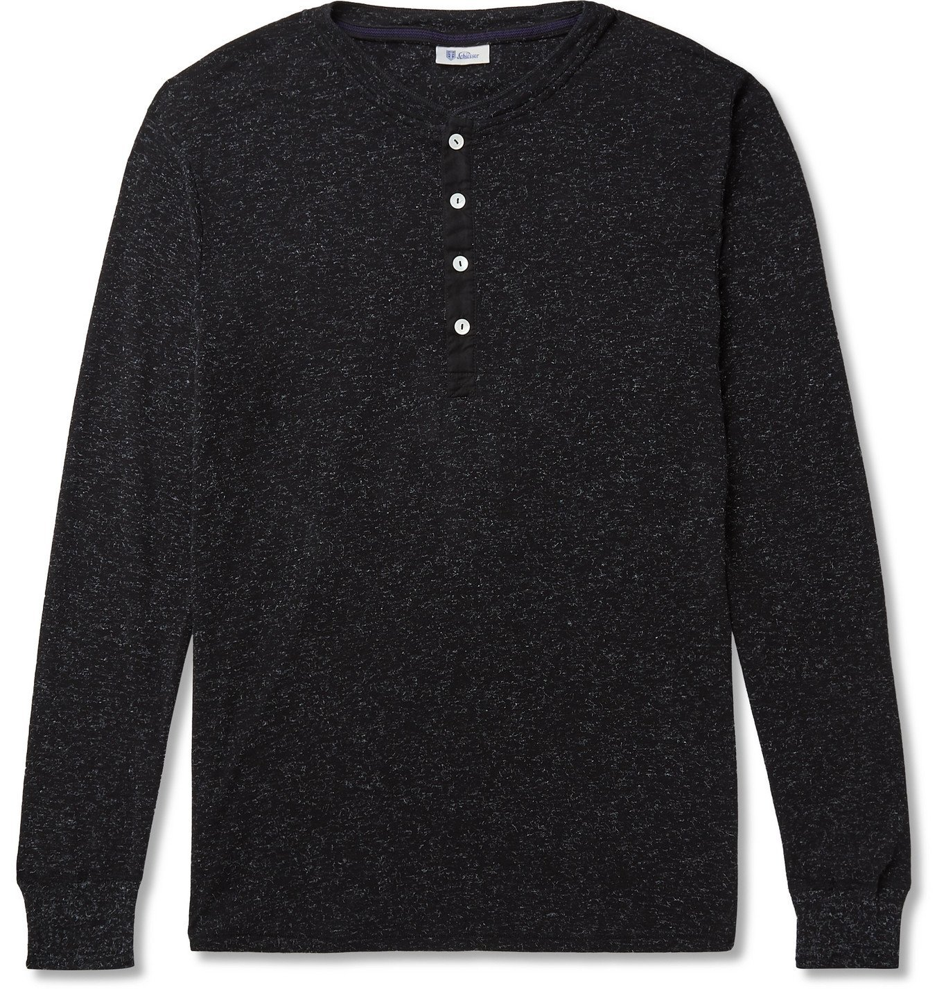 Schiesser - Karl Heinz Mélange Cotton-Blend Jersey Henley T-Shirt - Black