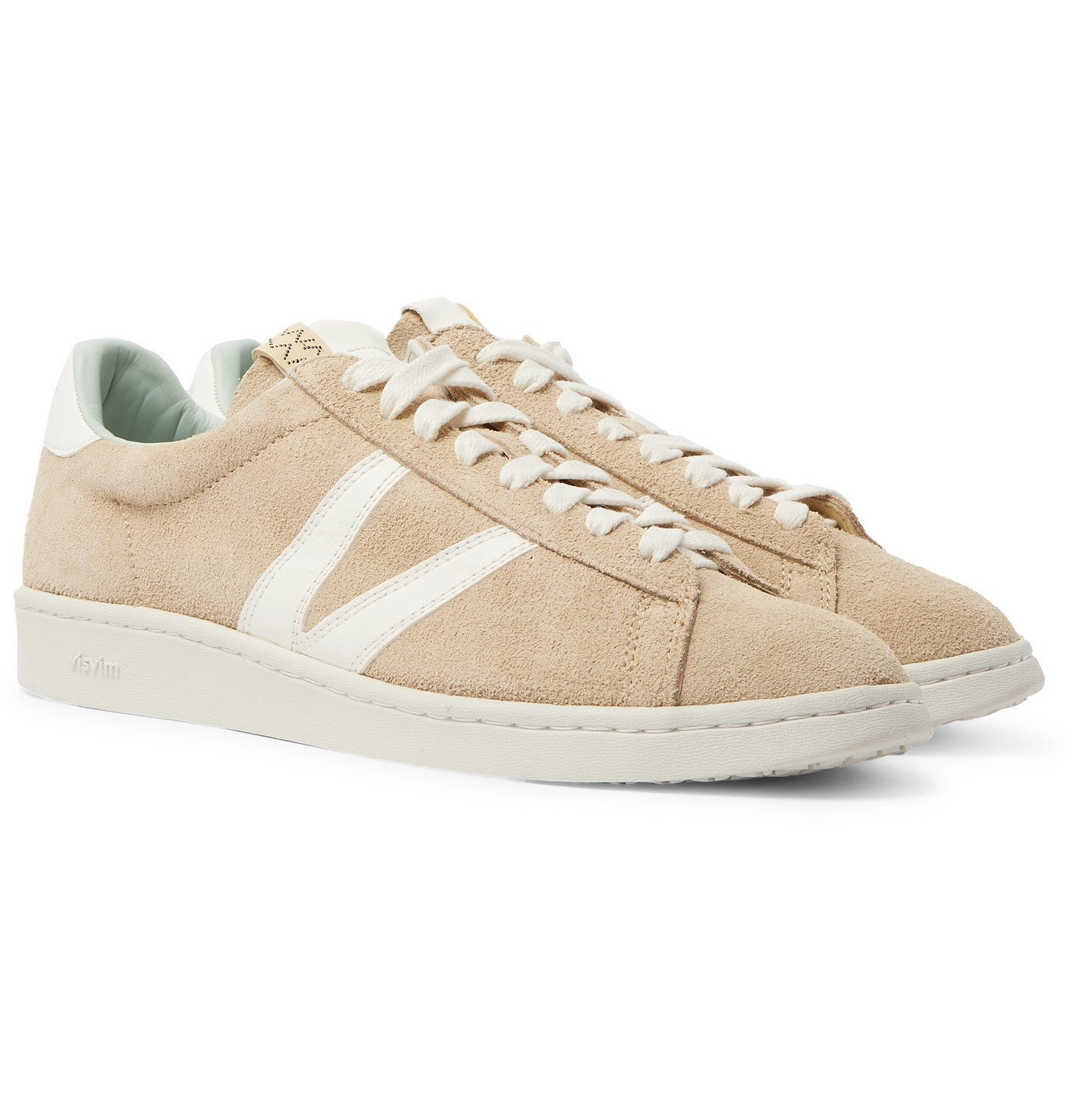 Photo: visvim - Corda-Folk Leather-Trimmed Suede Sneakers - Neutrals