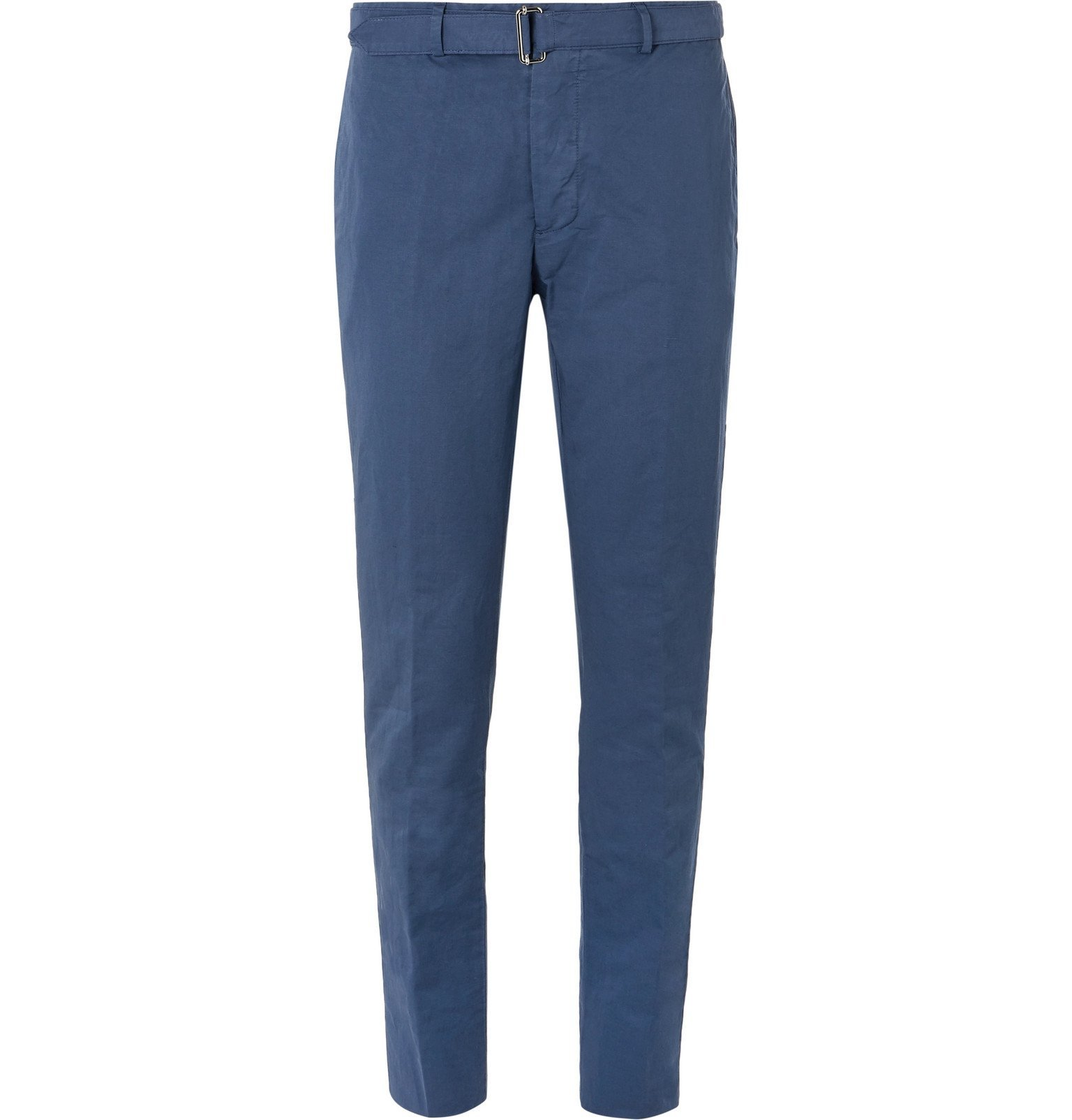Photo: Officine Generale - Paul Slim-Fit Belted Garment-Dyed Cotton and Linen-Blend Suit Trousers - Blue