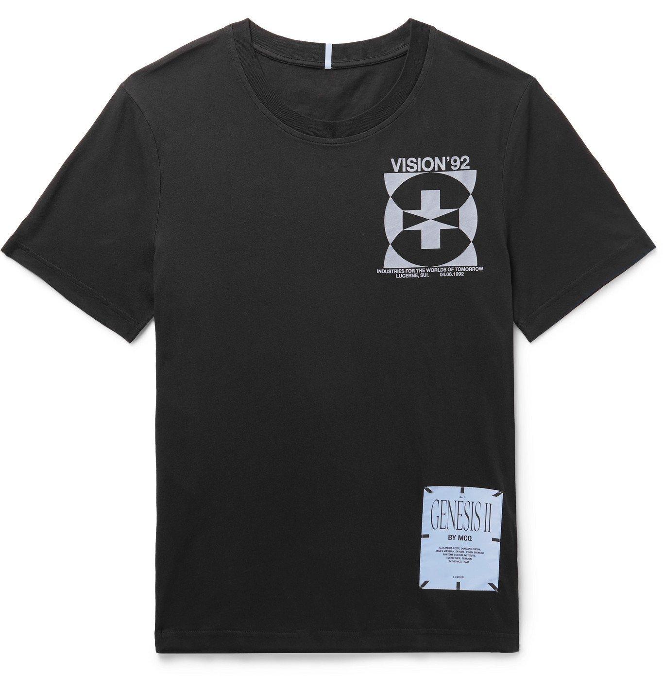 Photo: MCQ - Printed Appliquéd Cotton-Jersey T-Shirt - Black