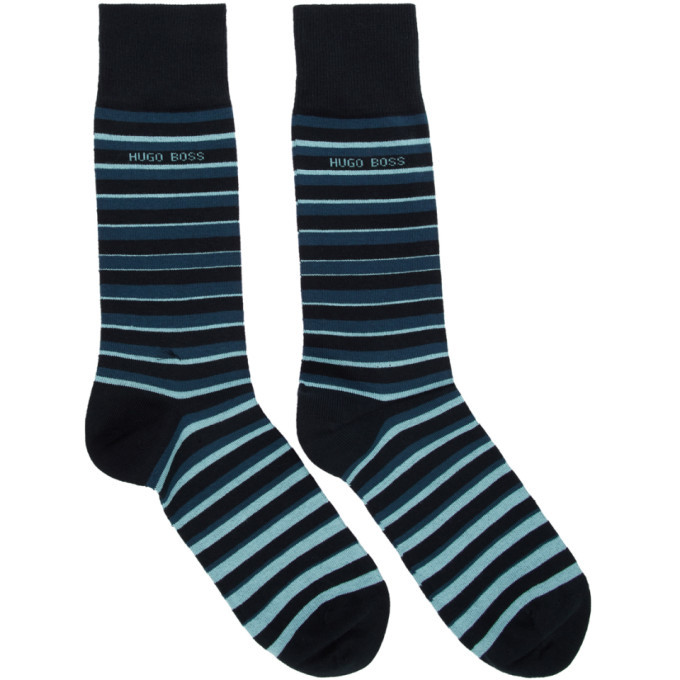Photo: Boss Two-Pack Navy Striped Socks