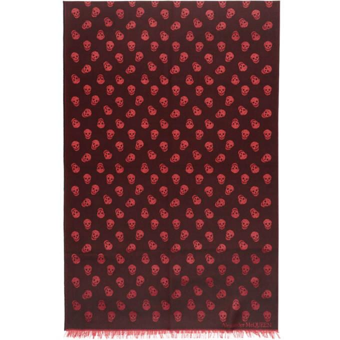 Photo: Alexander McQueen Black and Red All Over Skull Scarf