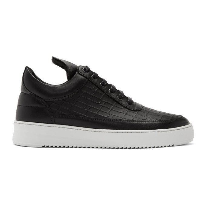 Photo: Filling Pieces Black Croc Low Top Ripple Sneakers