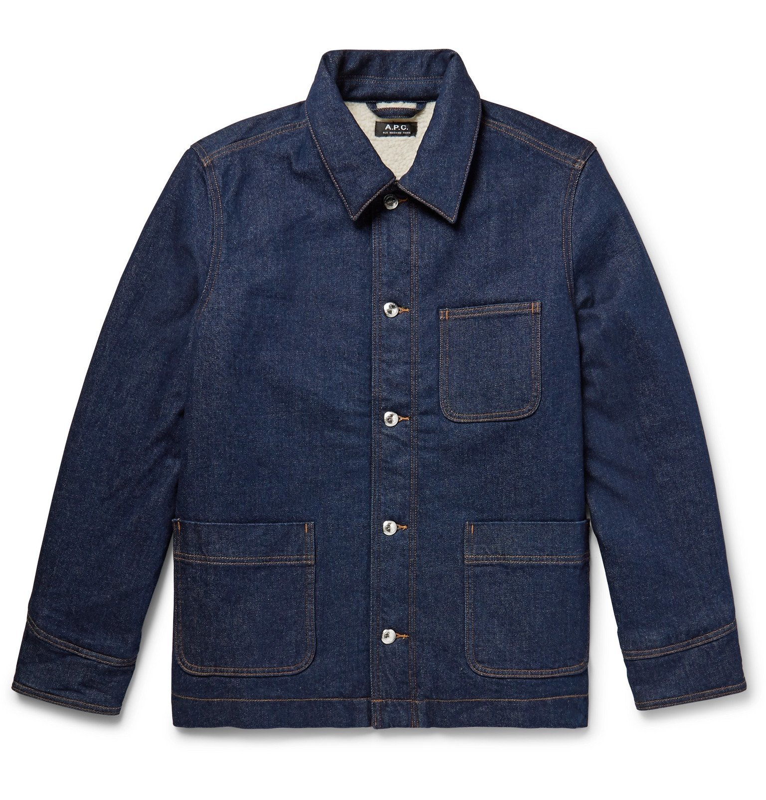 Photo: A.P.C. - Axel Faux Shearling-Lined Denim Jacket - Blue