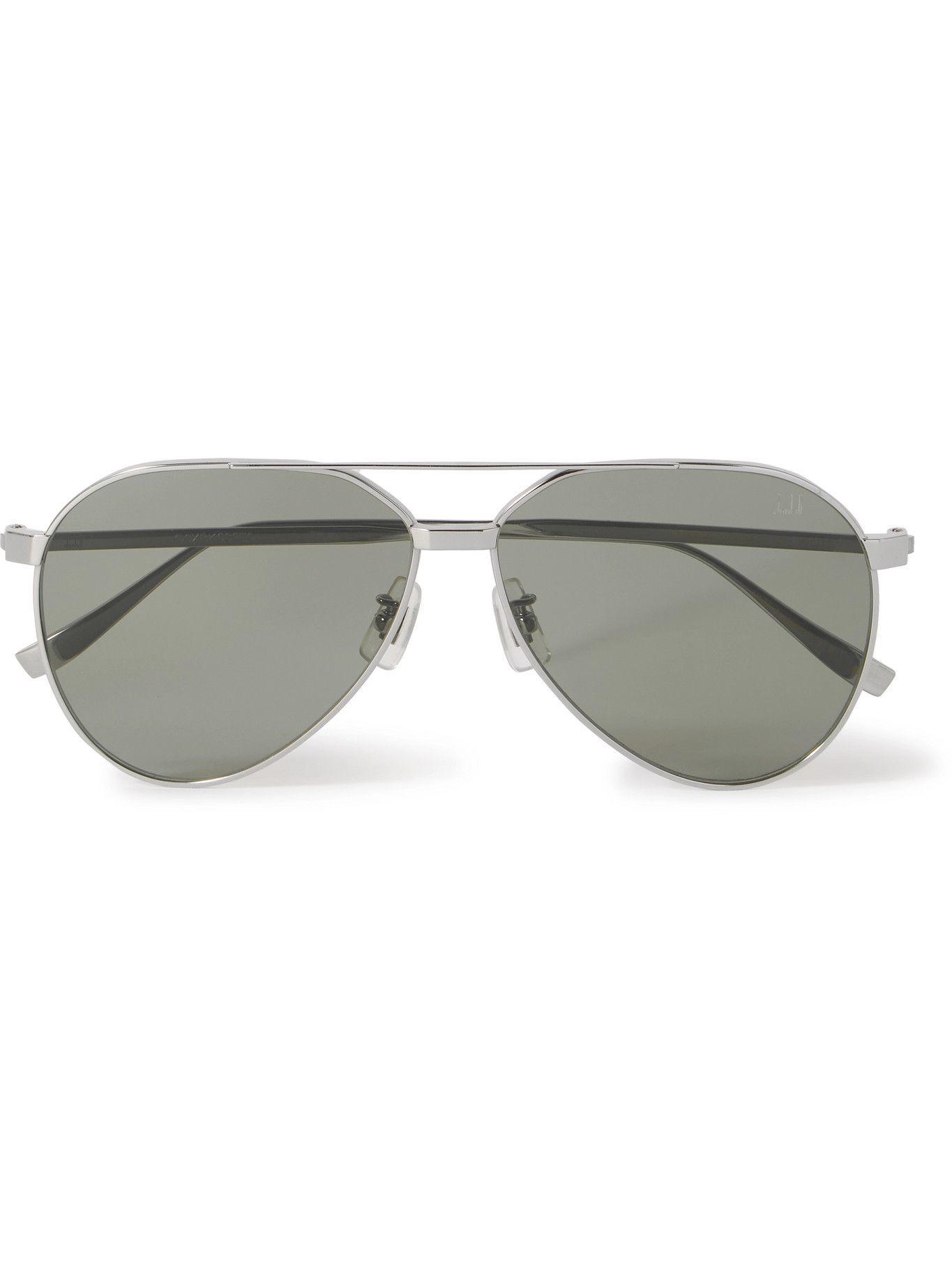 DUNHILL - Aviator-Style Silver-Tone Sunglasses