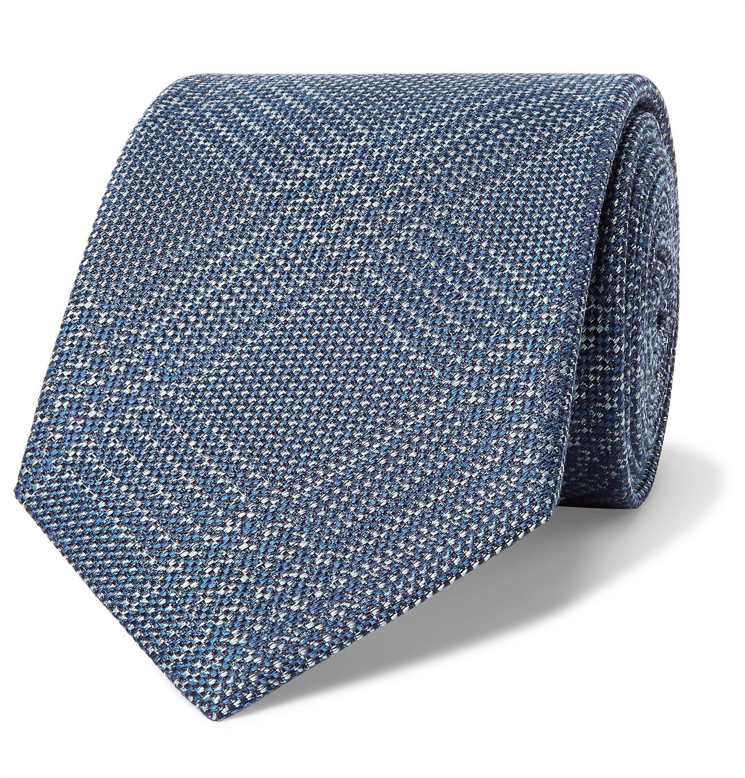 Photo: Brioni - 8cm Prince of Wales Checked Silk and Virgin Wool-Blend Tie - Blue