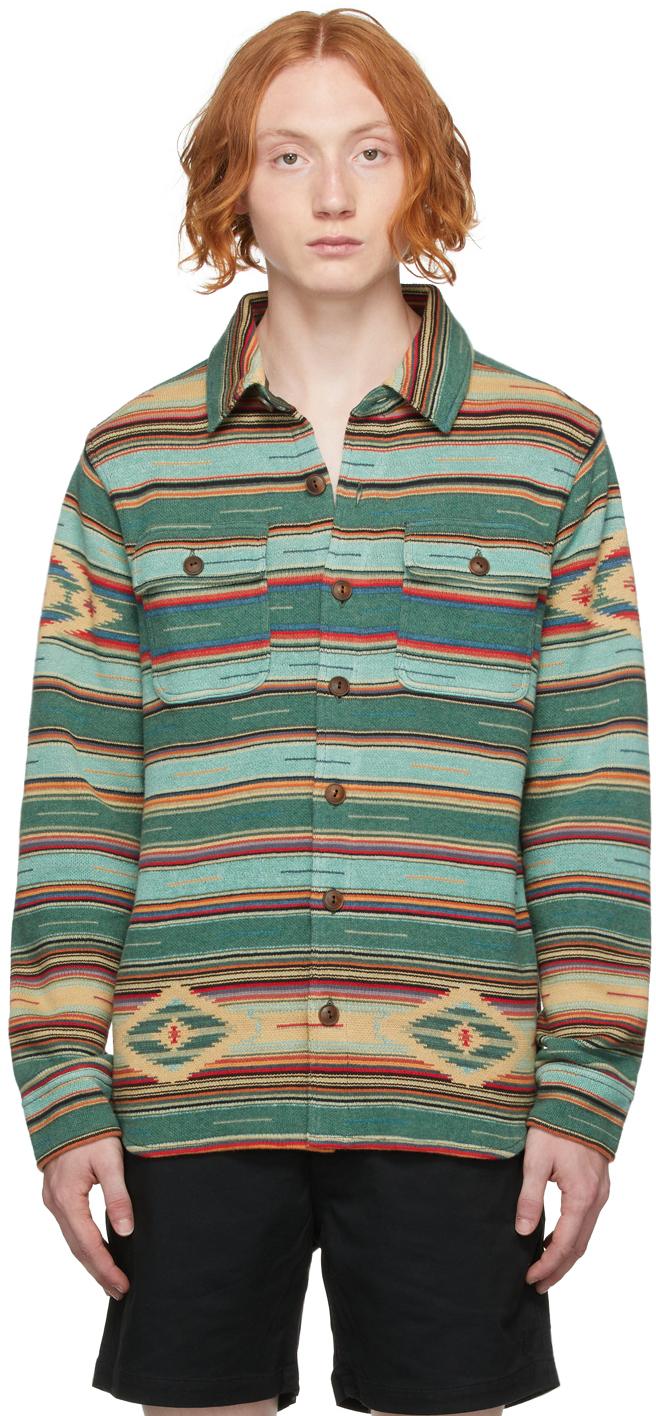 Photo: RRL Green & Multicolor Jacquard Knit Work Shirt