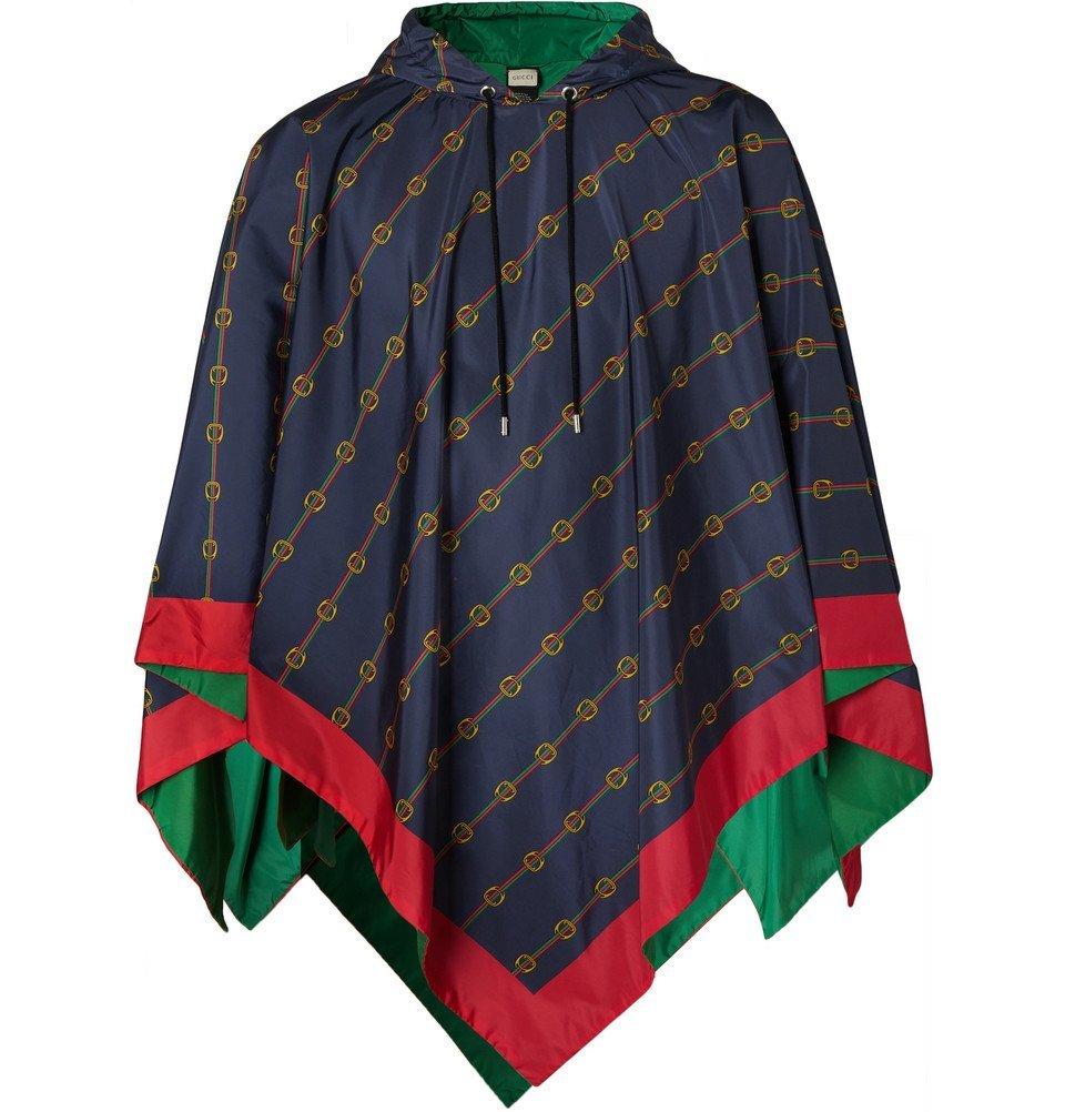 Photo: Gucci - Reversible Logo-Print Nylon Hooded Poncho - Navy