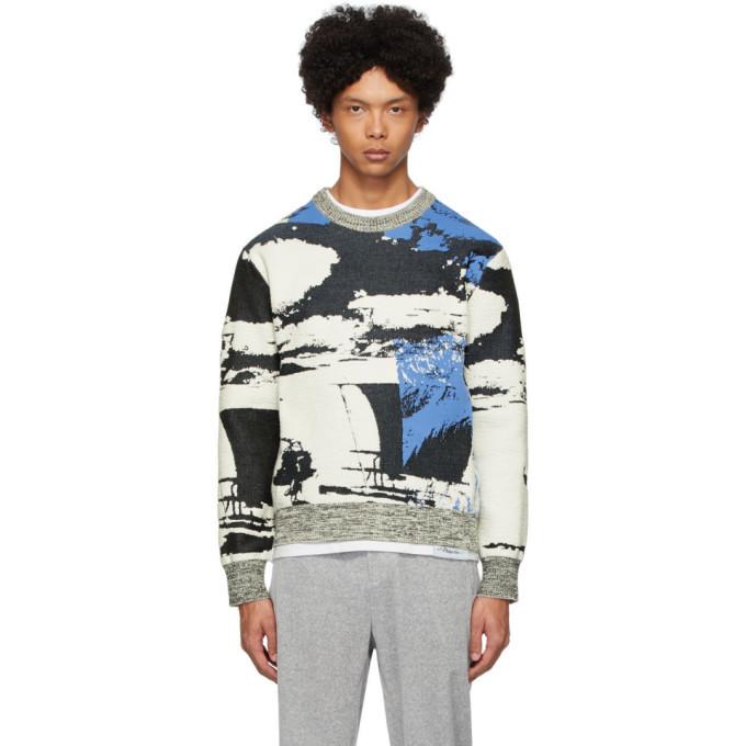 Photo: 3.1 Phillip Lim Black and Blue Jacquard Sweatshirt