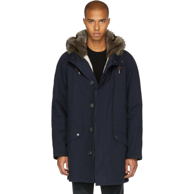 Photo: Yves Salomon Navy Fur-Lined Long Parka
