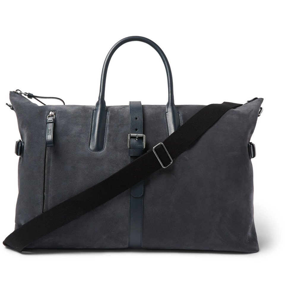 Tod's - Leather-Trimmed Suede Holdall - Navy