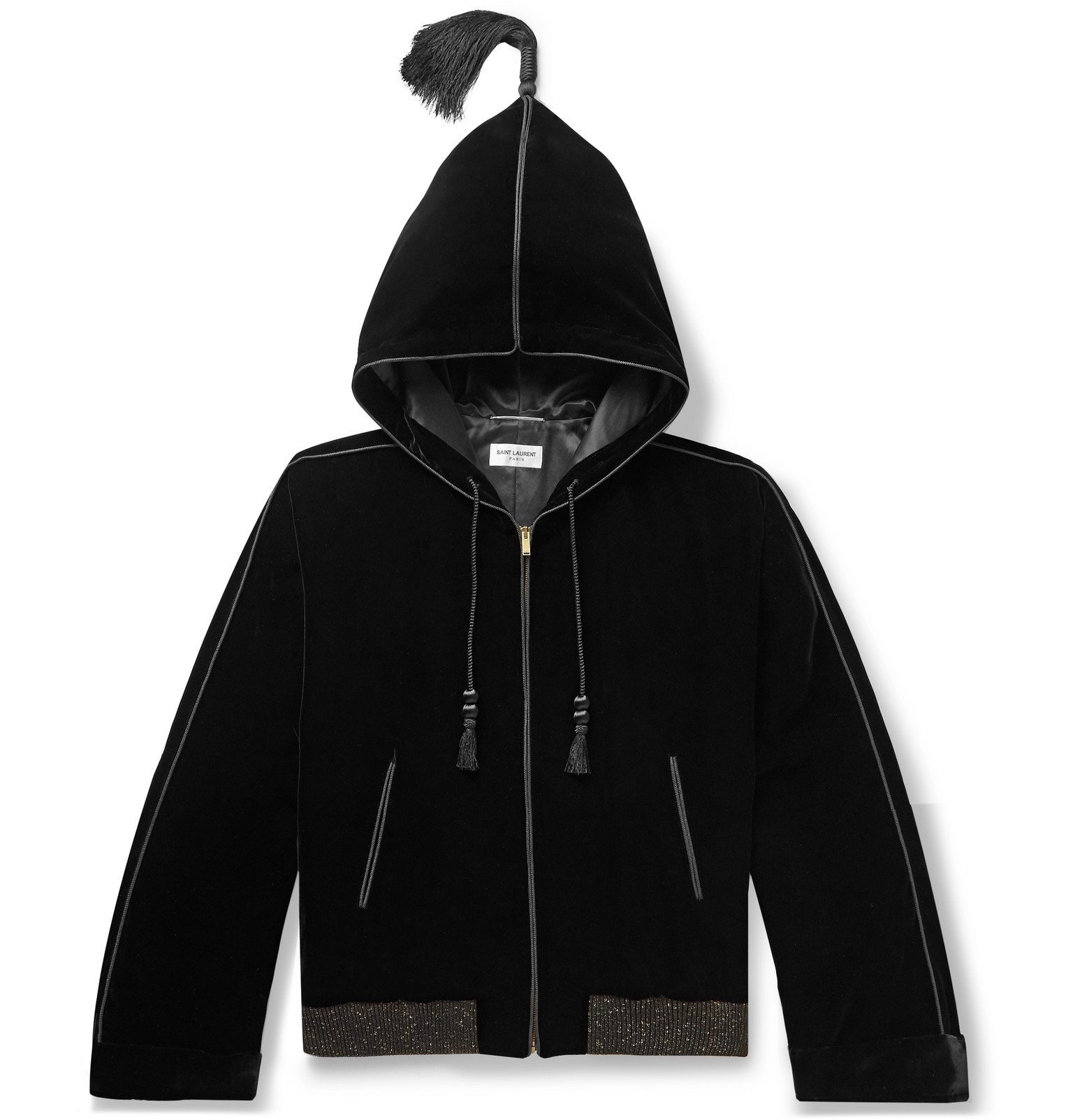 Photo: SAINT LAURENT - Tasselled Velvet Hooded Jacket - Black
