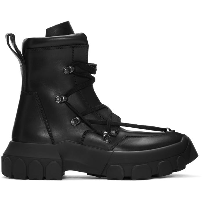 Photo: Rick Owens Black Hiking Lace-Up Boots
