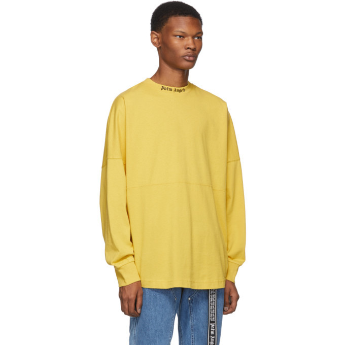 Palm Angels Yellow Logo Long Sleeve T-Shirt