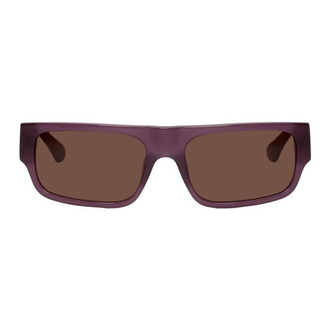 Photo: Dries Van Noten Purple Linda Farrow Edition 189 C4 Rectangular Sunglasses