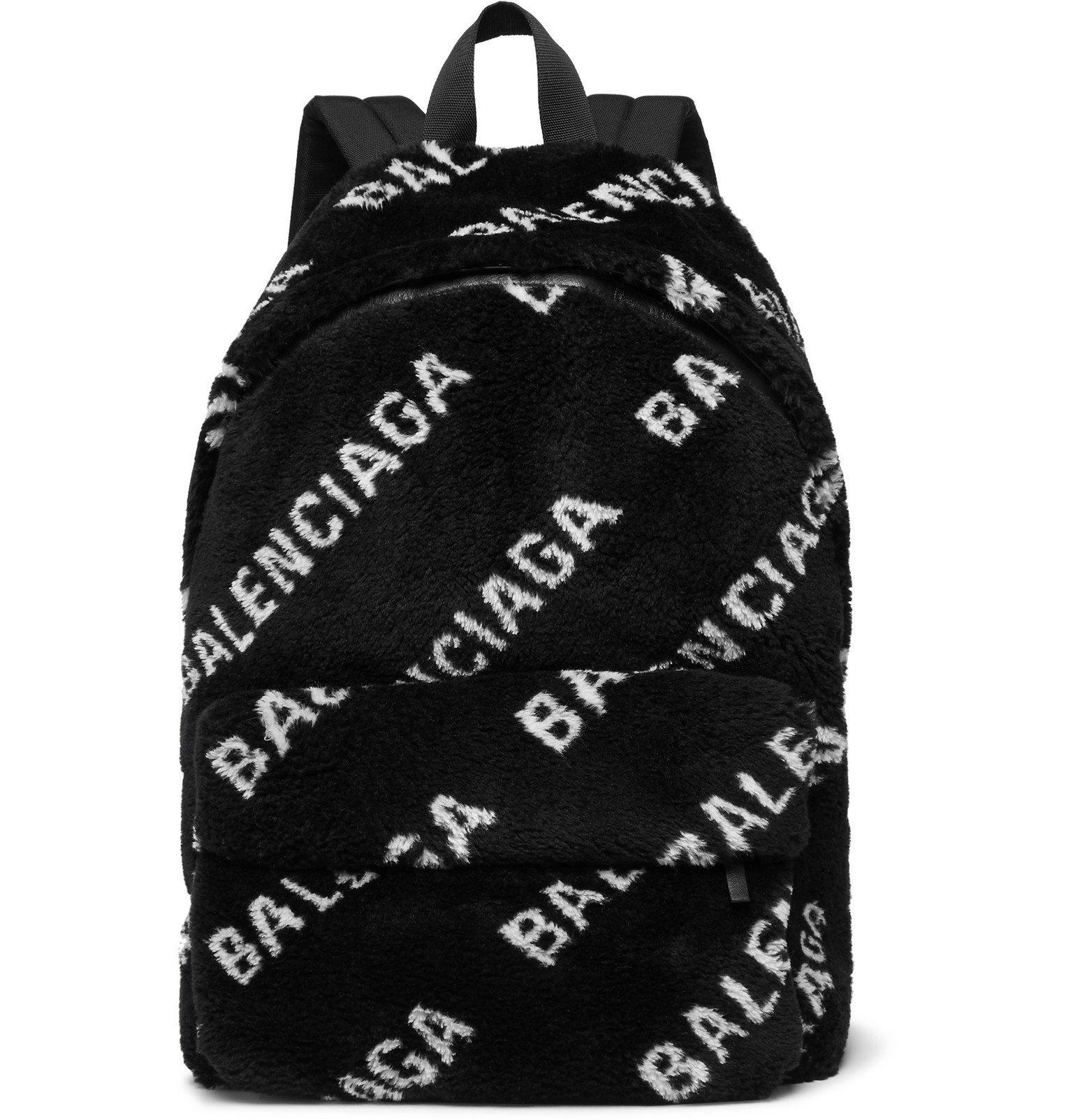 Photo: Balenciaga - Logo-Print Fleece Backpack - Black